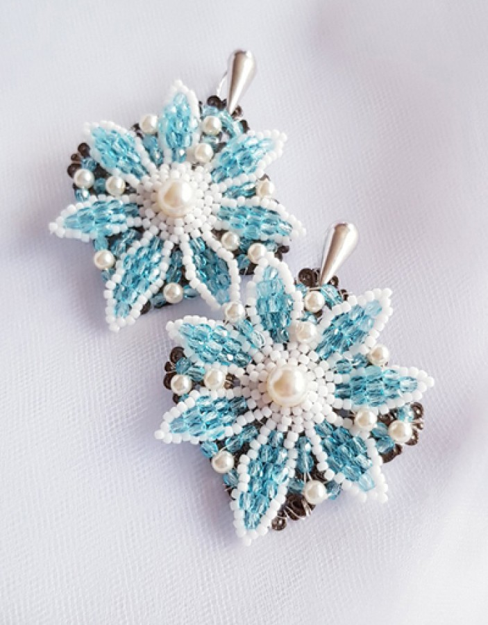 "Auskarai ""Blue flowers"""