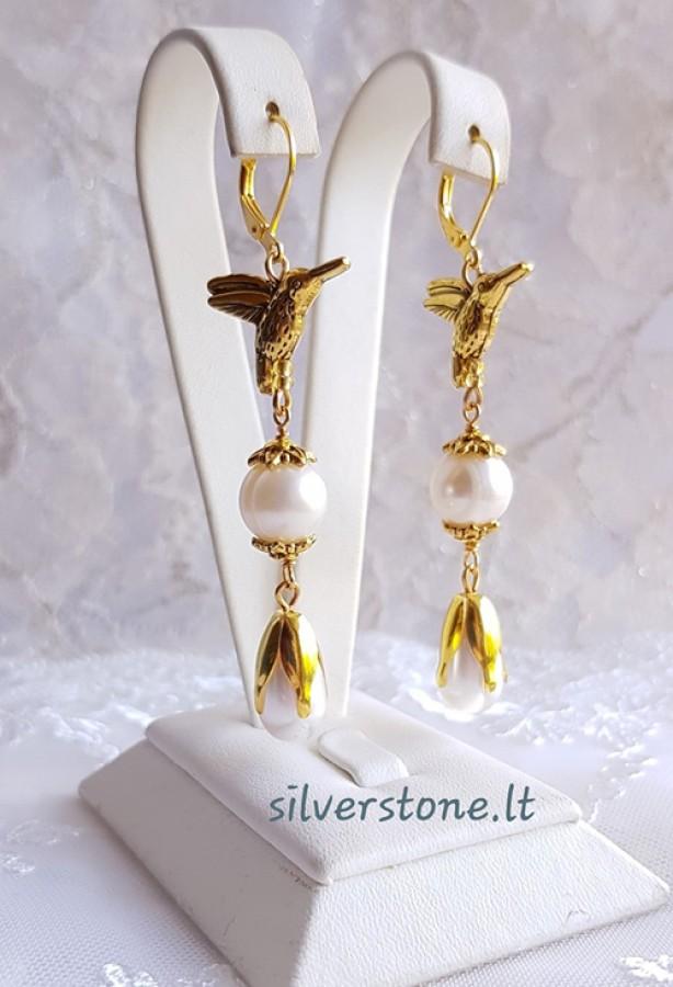 """Auskarai """"Golden birds"""""""